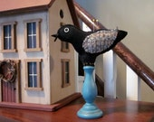 Upcycled  Recycled Felted Wool Make Do Pincushion Primitive Bird