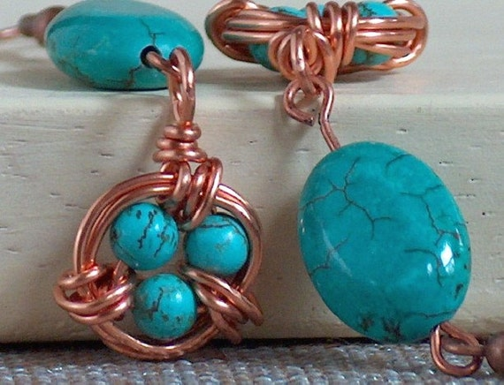 FREE SHIPPING Turquoise bird's nest earrings