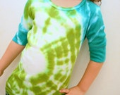 Tie Dye Girls Shirt - Green and Aqua Bulls Eye - Size XS / 6 for Girls