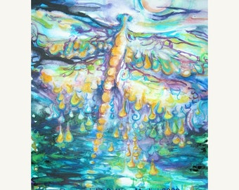 Golden Dragonfly - high quality reproduction of my original painting