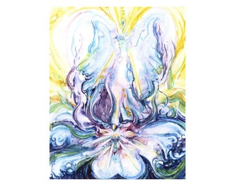 White Fire Being - wings wide open - are you ready? - fine art (giclee) print of my original painting