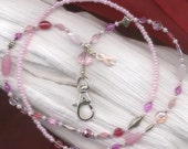 Pretty in Pink ID Badge Lanyard with Breast Cancer Awareness Charm FREE SHIPPING