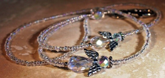 Crystal Angels Beaded ID Lanyard Badge Necklace with  FREE SHIPPING