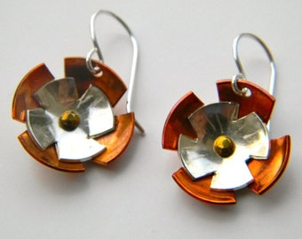 Sterling Silver and Copper Flower Earrings