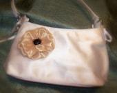 Vintage Handbag Champagne and Ebony Hand-Embellished