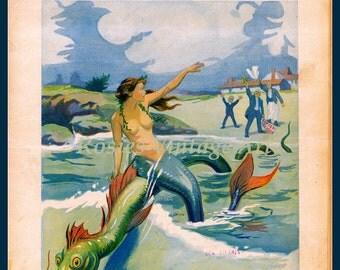 Mermaid and Sea Serpent Magazine Cover -  Cottage decor, summer decor, beach style decor - Mermaid Poster - Mermaid Print Vintage
