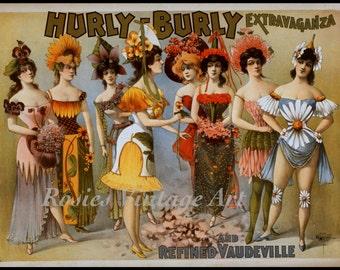 "VINTAGE Burlesque POSTER Print: ""Hurly Burly Vaudeville Extravaganza"" - Vaudeville Wall Art - Theater Wall Art - Home Theater Decor"