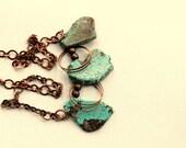Statement Necklace Large Aqua Boho Hippie Ethnic Necklace Turquoise - Boho Mama