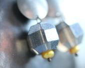 Funky Mirror Earrings - Mirror Glass Daffodil Pearl and Metal - I See You Earrings
