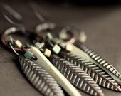 Tribal Statement Earrings - White Coconut Miyuki Bead Copper - Wonoshu Earrings