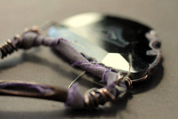 Statement Tribal Necklace - Black Agate Mauve Pink Fabric and Copper - Leap of Faith 2