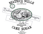 PDF Pattern For Printable Reproduction Sugar Sack Image 4 Sizes Beatrice Mills Sugar Sack W Oval