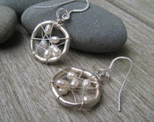 Wire wrapped circle earrings with fresh water pearls, organic jewelry