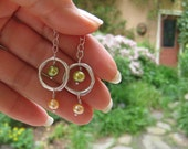 Circle with pearls earring, organic fine silver jewelry