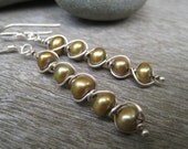 5 stacked wire wrapped pearl earrings
