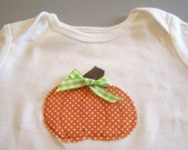 Precious Polka Dot Pumpkin One Piece Snap Bodysuit with Green Bow for Baby Girl