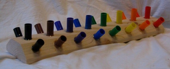 Wooden marker holder for 24 Crayola markers