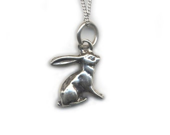 Rabbit Pendant and Necklace - Sterling Silver