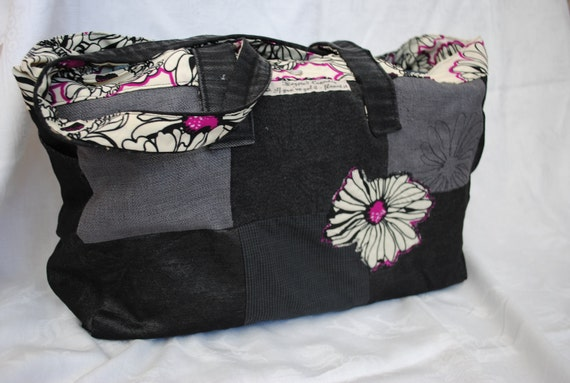Reserved for Sarah Jex ... Embroidered patchwork fabric tote bag - monchrome chrysanthemum recycled fabric