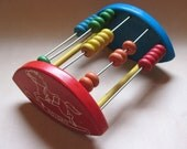 Vintage Abacus Counting Toy - wood with rocking horse