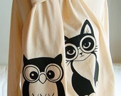 Creme and Black Clever Owl and Clever Pussycat Scarf - Limited Edition