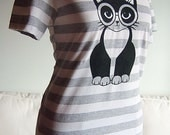 Heather Grey Striped Clever Pussycat Womens Short Sleeve Tee