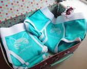 Aqua and White Clever Kitty Unisex Baby Rib Briefs