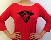 Red Pirate Kitty 3/4 Sleeve Boatneck Tee.