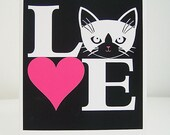 Love Cats in White and Fuchsia Greeting Card