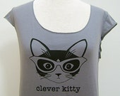 Slate Grey Clever Kitty Sheer Jersey Tee