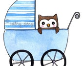 Stroller Owlet New Baby Boy Congratulations Greeting Card
