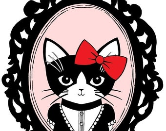 Fancy Kitty in Red Bow 8 x 10 Art Print