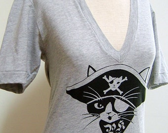 Heather Grey Pirate Kitty Sheer Jersey Short Sleeve Unisex V-Neck Tee T-shirt - Made to Order