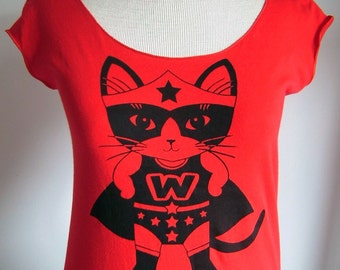 Red Wonder Kitty Sheer Jersey Tee - Made to Order