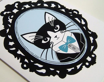 Everyday Greeting Card. Hello. Cat with Bowtie. Fancy Frame. Blue. Black. Blank.