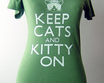 Olive Green Keep Cats and Kitty On Bamboo V-neck Tee