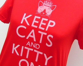 Womens Short Sleeve Tee. Red Keep Cats and Kitty On. Jersey LAST ONE. Medium