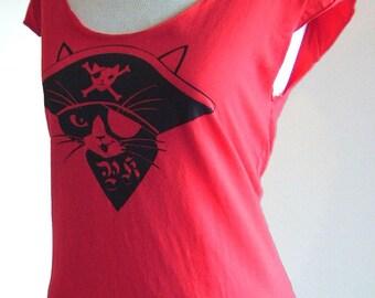 Red Pirate Kitty Sheer Jersey Sleeveless Tee T-shirt