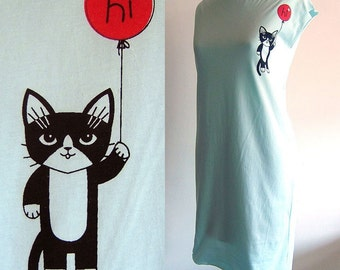 Light Blue Hi Kitty Tshirt Dress/Tunic