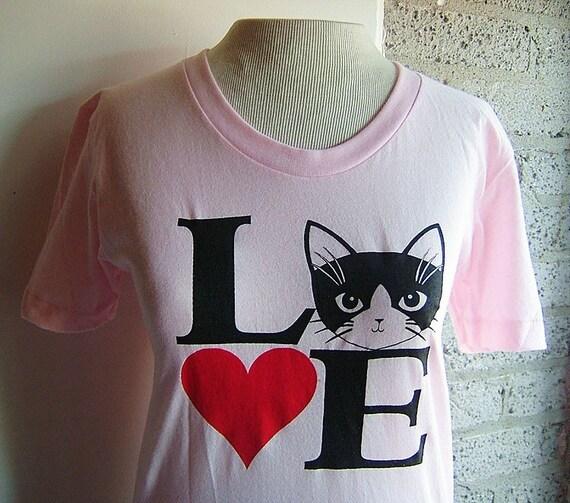 Light Pink Love Cats Short Sleeve Sheer Jersey Tee T-shirt