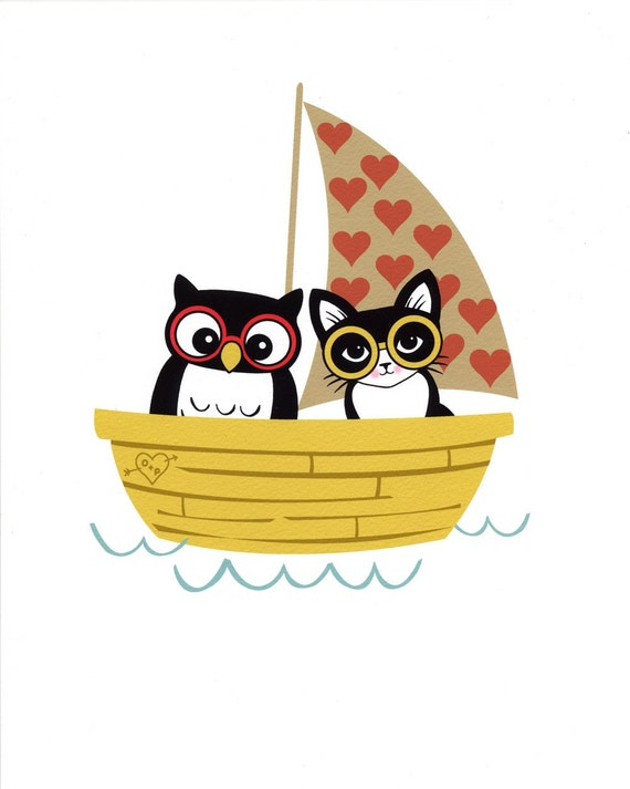 Owl and Pussycat in Their Loveboat 8 x 10 Art Print