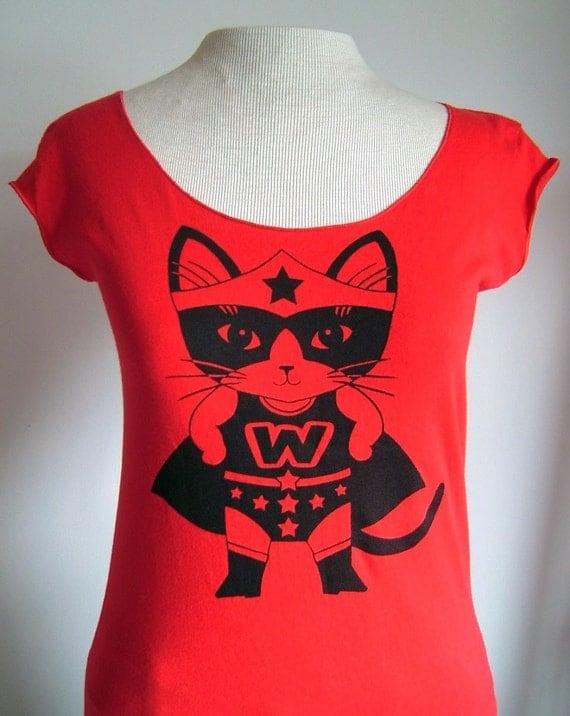 Red Wonder Kitty Sheer Jersey Tee - Made to Order