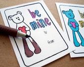 printable valentines valentine cards for kids valentine tags be mine valentines teddy bear coloring page for children school valentine party