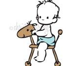 nursery art print . baby boy on brown rocking horse / pony