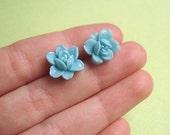 valentine gift for her . blue rose earring studs . vintage