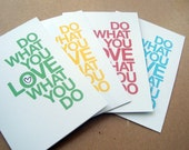valentine cards, quote cards, do what you love, 4 inspirational cards, motivational cards, red yellow blue green, letterhappy