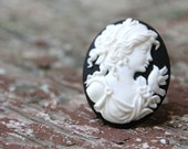 large adjustable black and white cameo ring . greek goddess