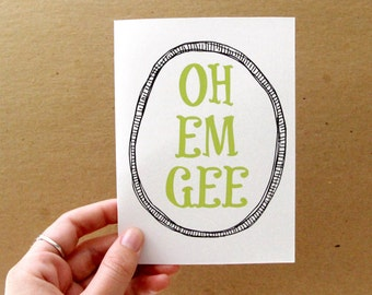 OOPS CLEARANCE SALE, funny oh em gee card, green, letterhappy