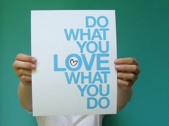 do what you love 8x10 art print, blue office studio home decor, inspirational quote print, coworker boss gift, dorm decor, letterhappy