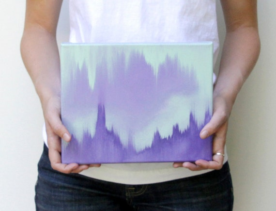 original canvas painting . 8x10 abstract art in lavender, purple, and mint ombre